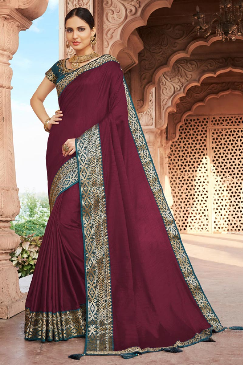 Festive Wear Wine Color Fancy Art Silk Fabric Border Work Saree