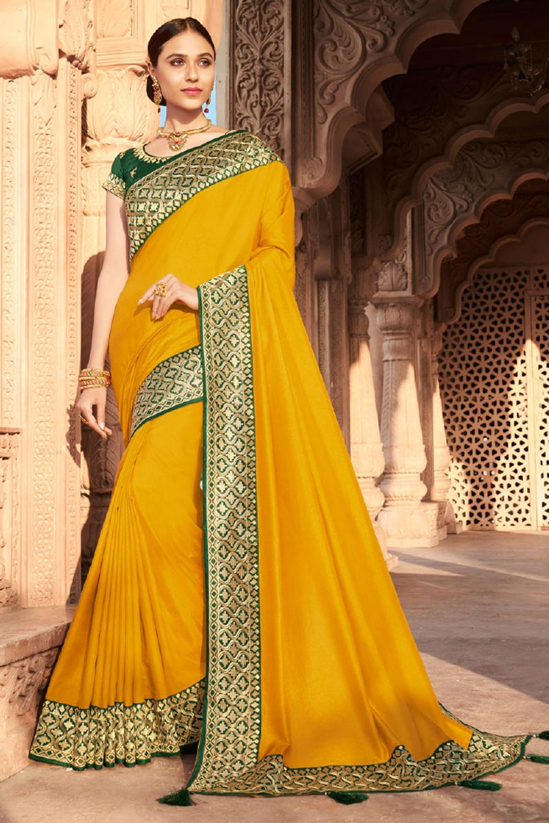 Party Wear Art Silk Fabric Fancy Border Work Saree In Yellow Color