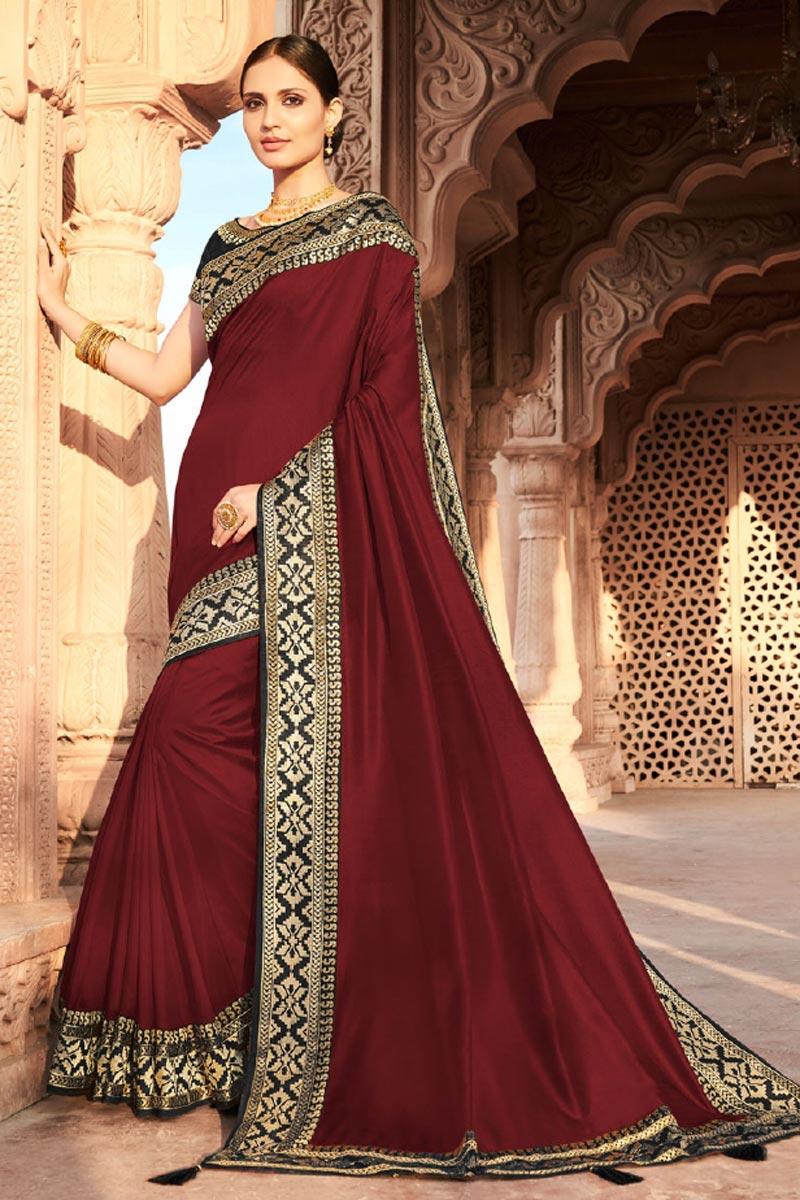 Maroon Color Party Wear Fancy Art Silk Fabric Border Work Saree