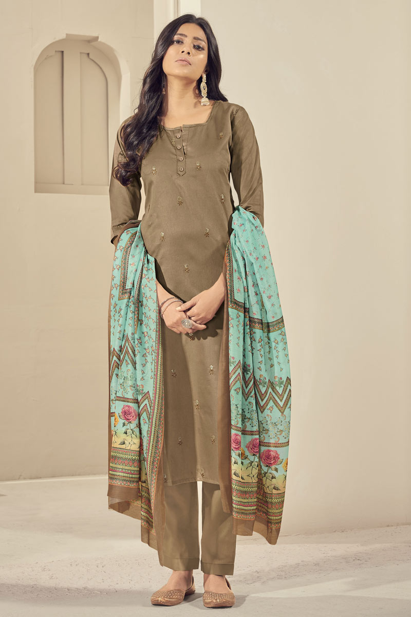 Satin Fabric Festive Wear Elegant Embroidered Readymade Straight Cut Suit In Dark Beige Color