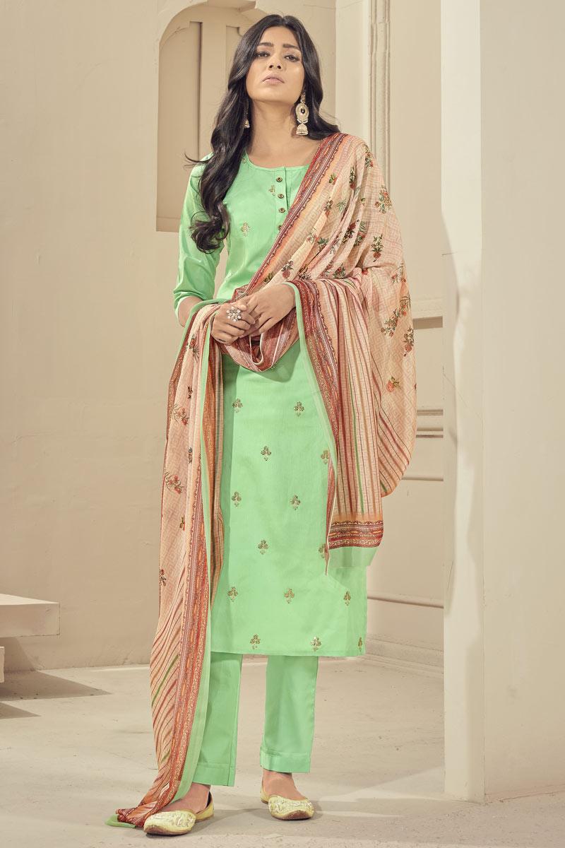 Festive Wear Sea Green Color Elegant Embroidered Readymade Straight Cut Satin Fabric Dress