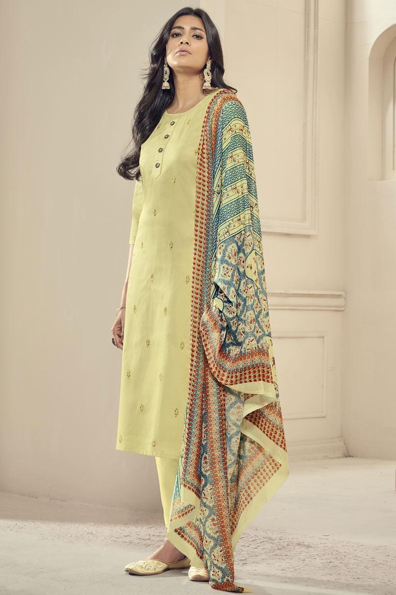 Festive Wear Elegant Embroidered Satin Fabric Readymade Straight Cut Dress