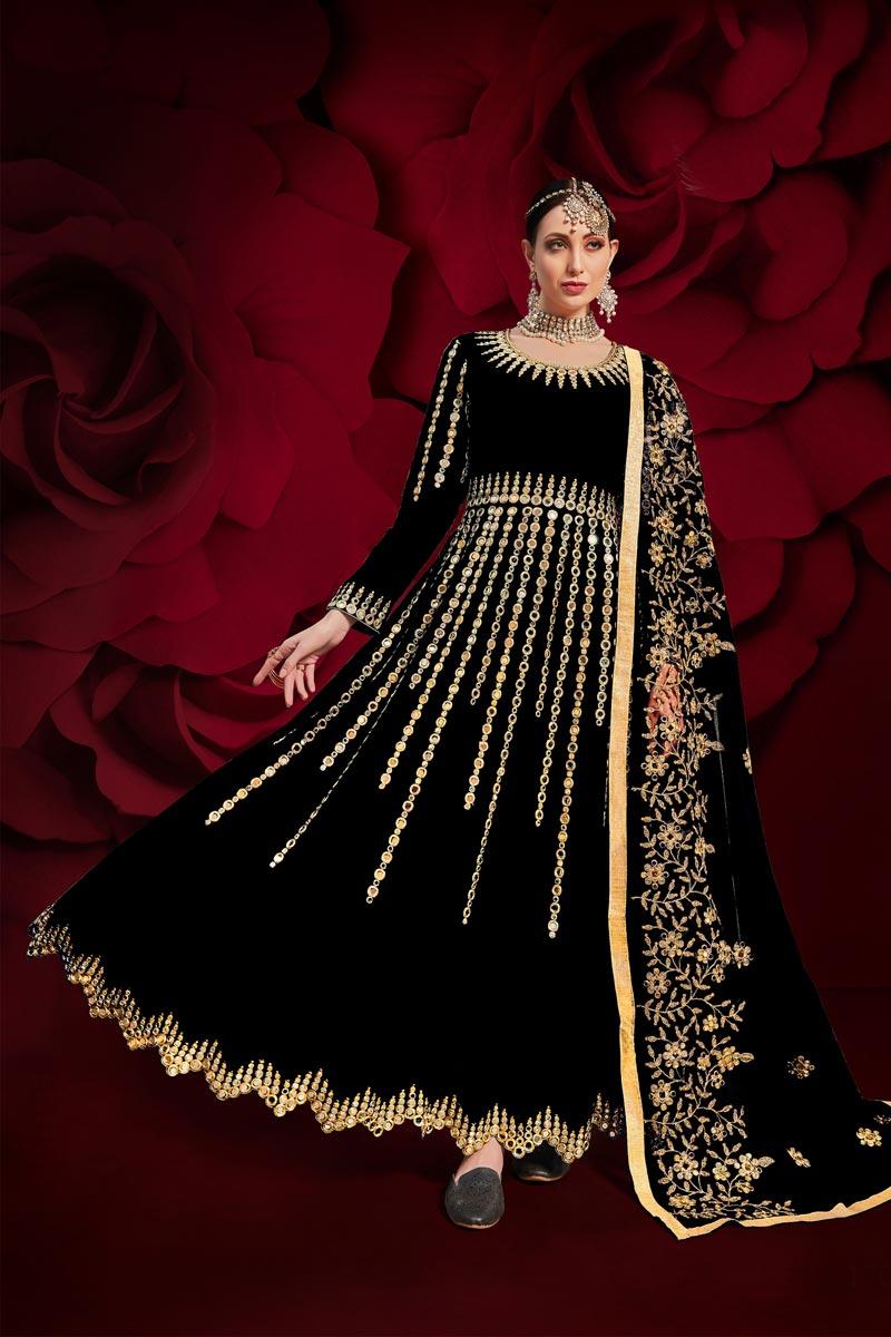 Black Color Georgette Fabric Sangeet Wear Embroidered Anarkali Salwar Kameez