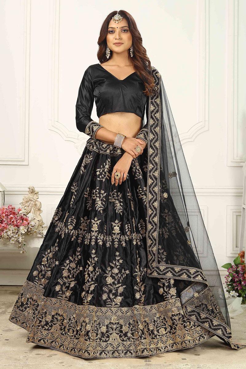 Black Color Satin Silk Fabric Sangeet Wear Lehenga Choli