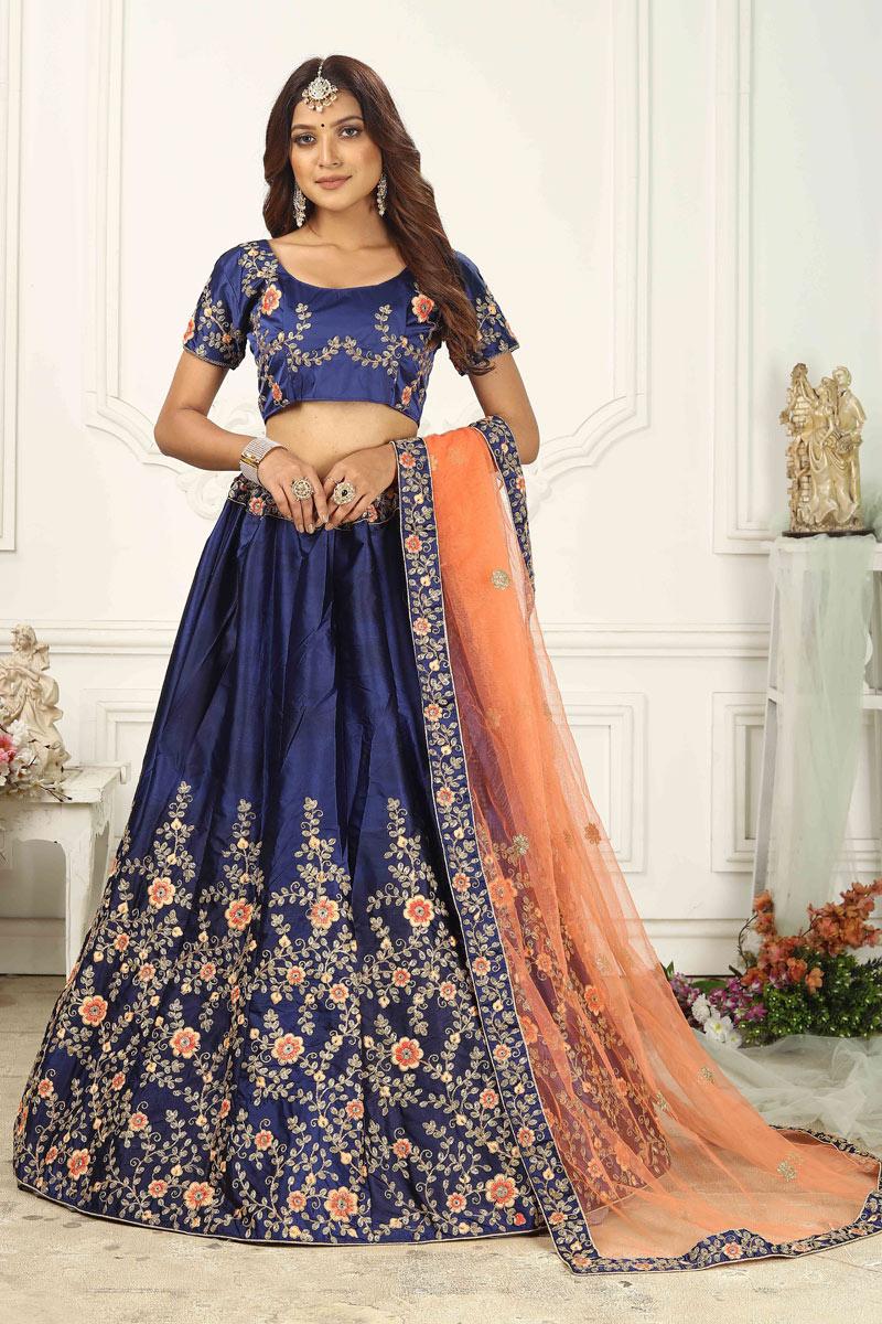 Satin Silk Fabric Navy Blue Color Wedding Wear Lehenga Choli