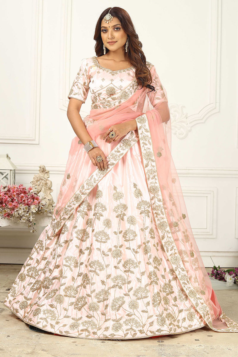 Trendy Pink Color Satin Silk Fabric Reception Wear Lehenga Choli