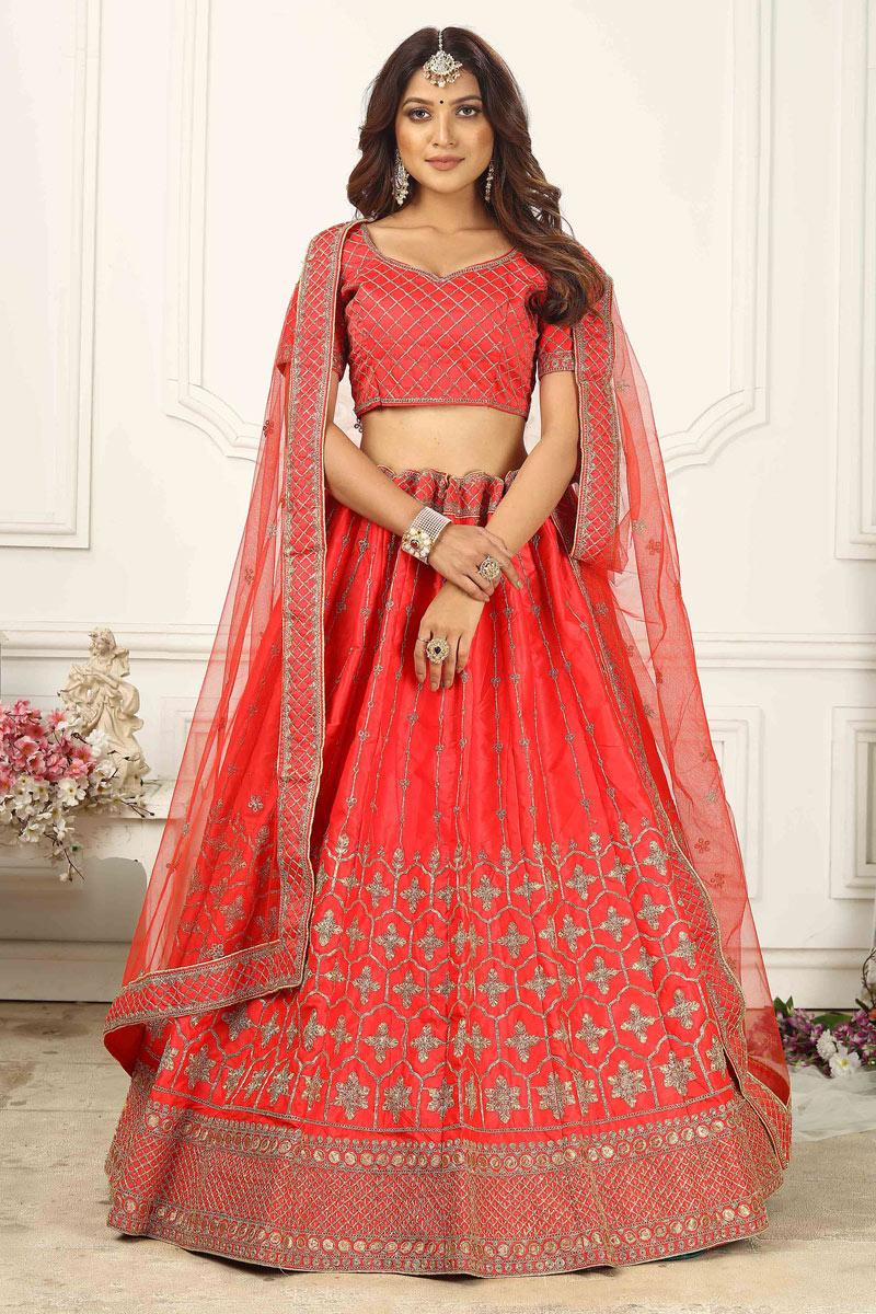 Sangeet Wear Red Color Satin Silk Fabric Designer Lehenga Choli
