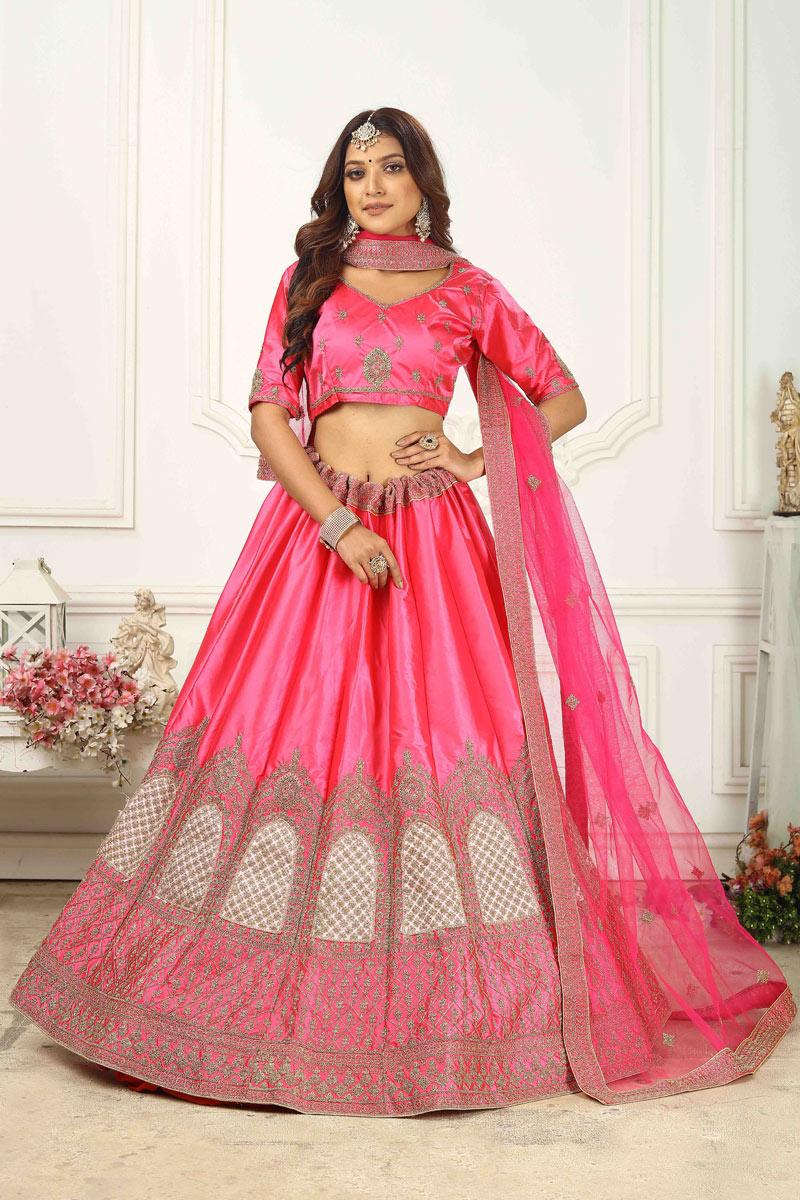 Satin Silk Fabric Wedding Wear Lehenga Choli In Rani Color