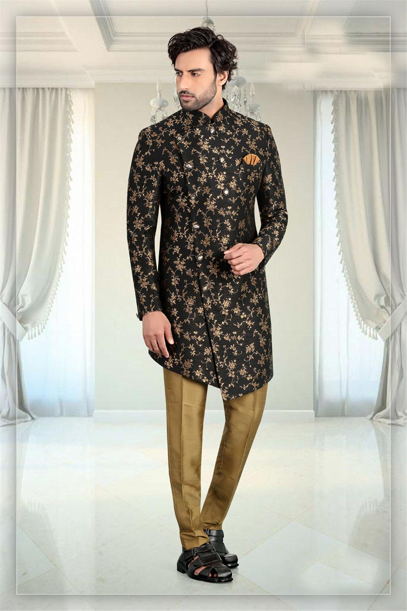 Black Color Jacquard Fabric Function Wear Readymade Mens Indo Western
