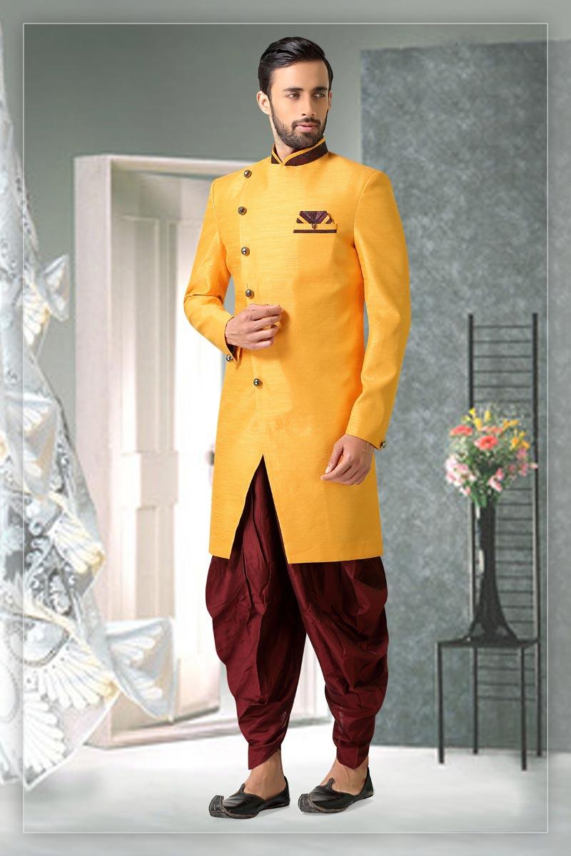 Yellow Color Art Silk Fabric Sangeet Wear Readymade Mens Indo Western