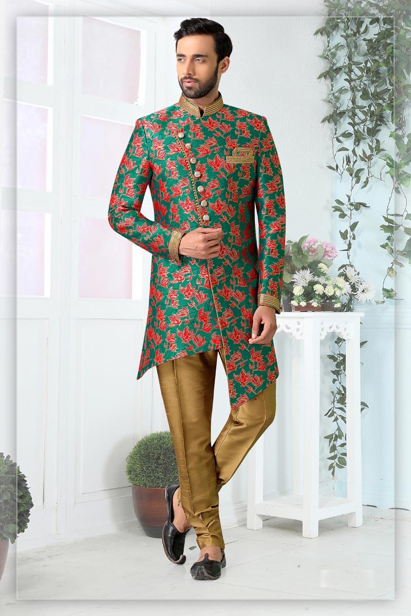 Green Color Jacquard Fabric Weding Wear Readymade Mens Indo Western