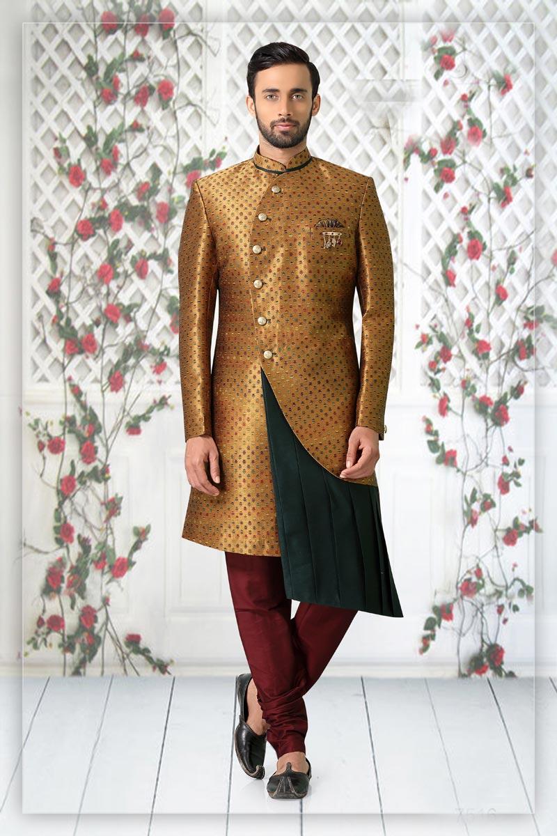 Coffee Color Jacquard Fabric Reception Wear Readymade Mens Indo Western