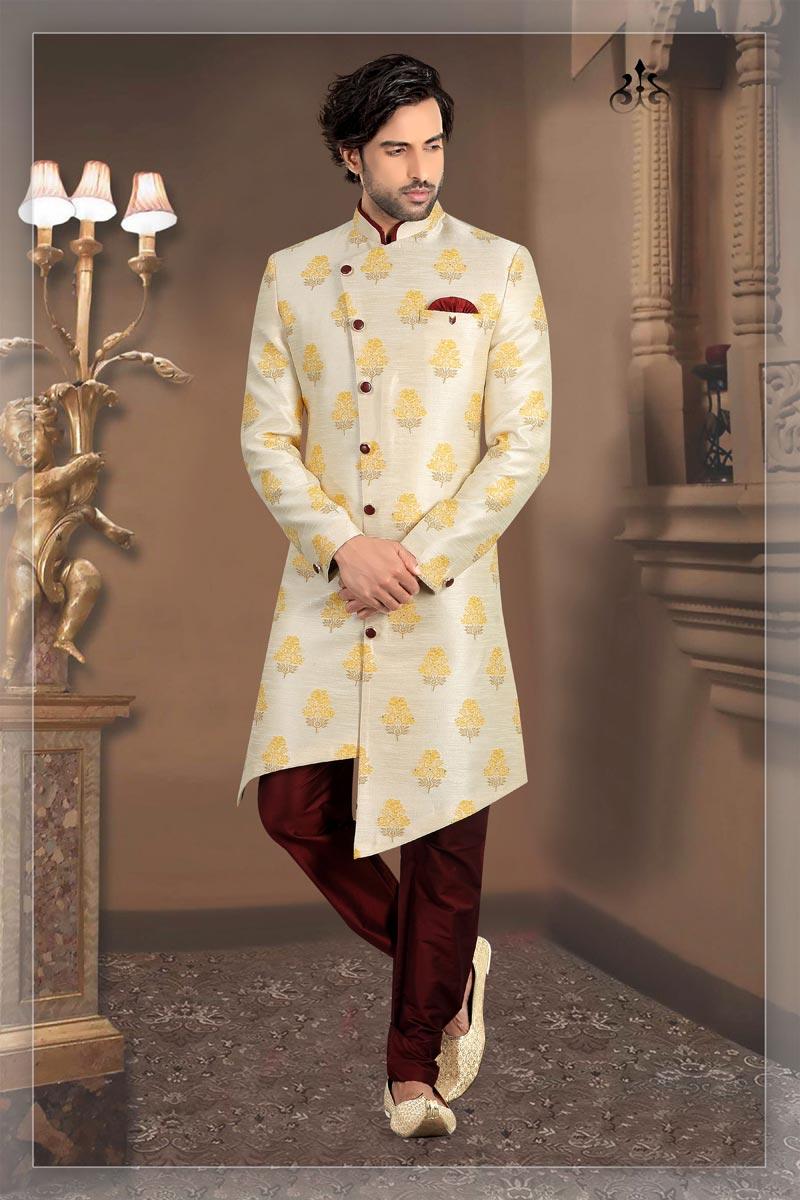 Beige Color Brocade Fabric Function Wear Readymade Mens Indo Western