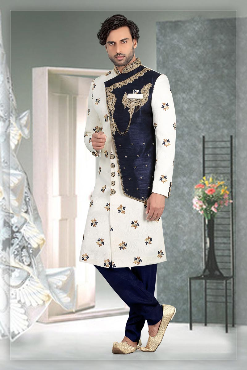 Off White Color Brocade Fabric Sangeet Wear Readymade Mens Indo Western
