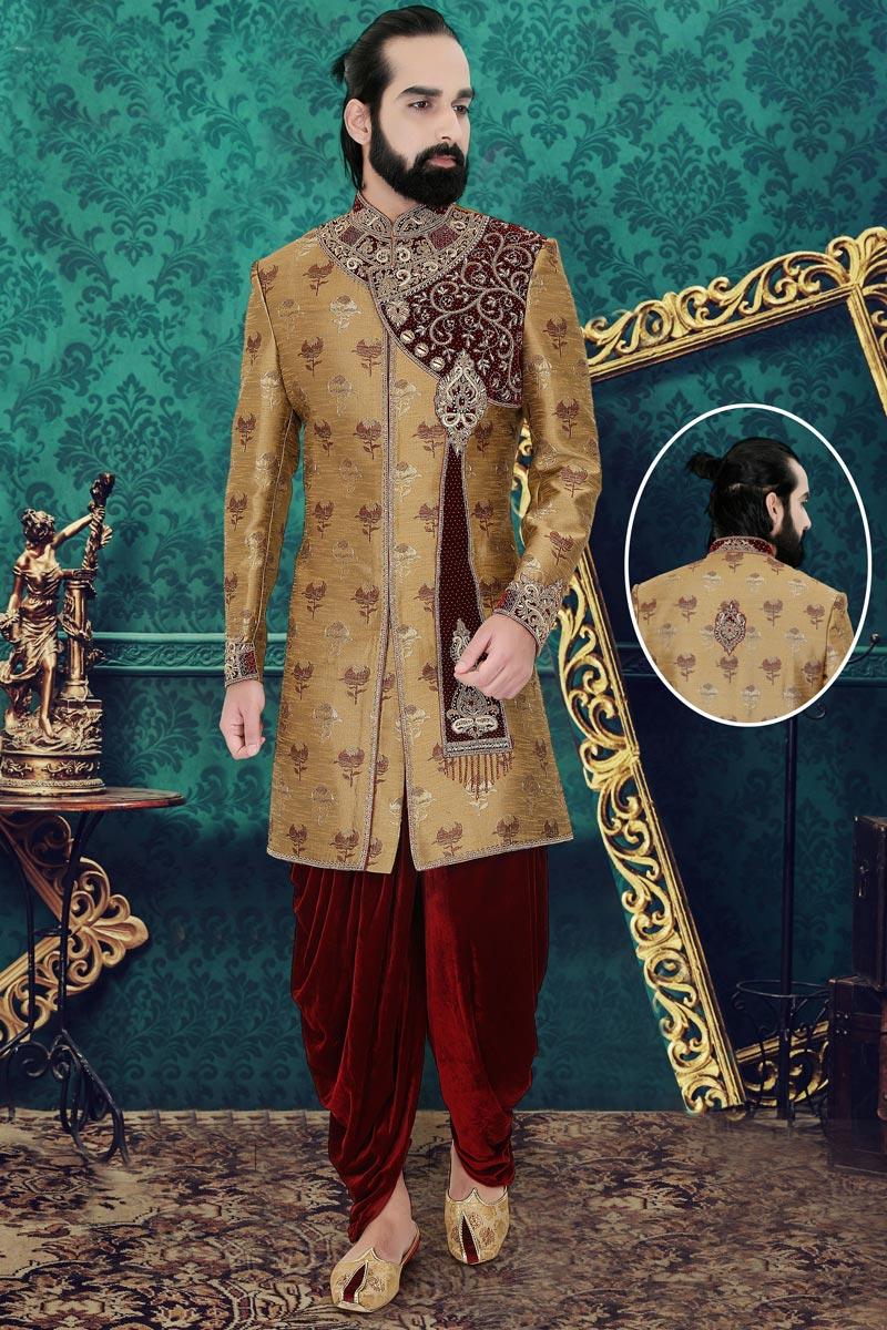 Light Brown Color Brocade Fabric Weding Wear Readymade Mens Indo Western