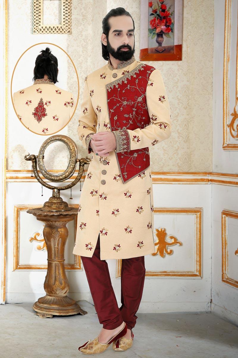 Peach Color Brocade Fabric Reception Wear Readymade Mens Indo Western