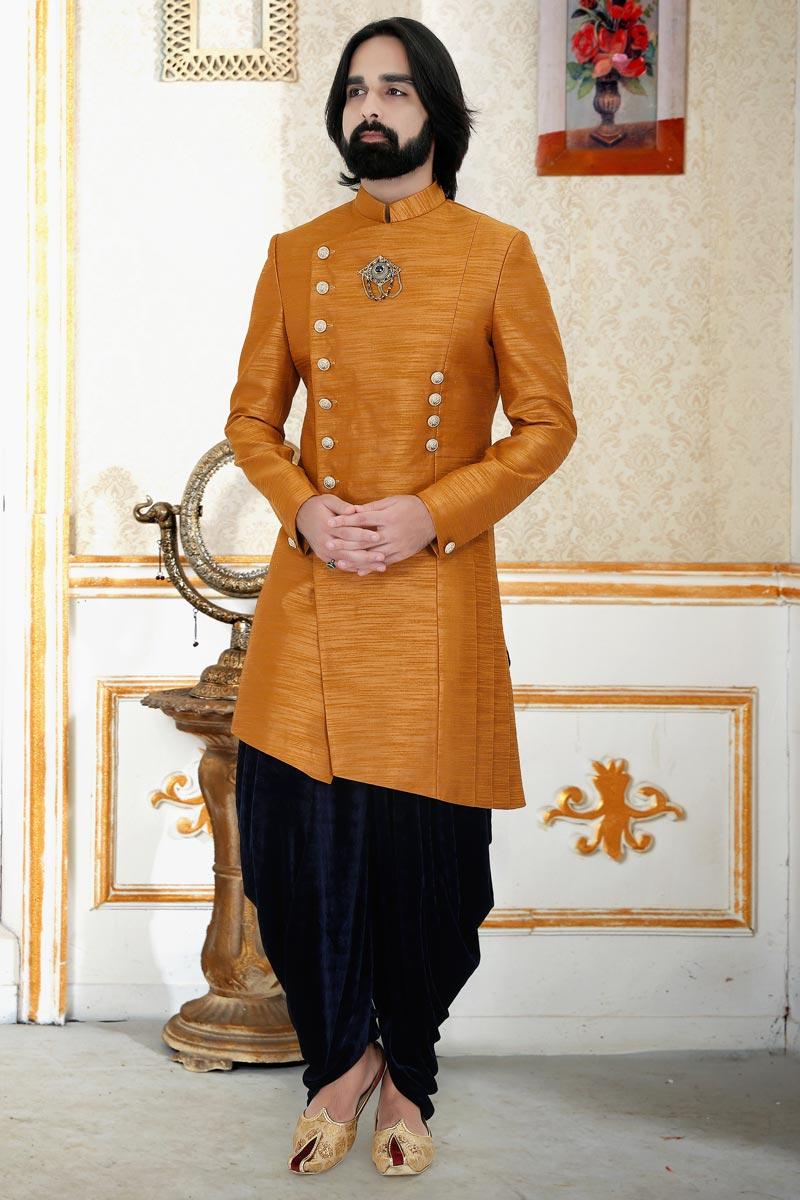 Coffee Color Art Silk Fabric Function Wear Readymade Mens Indo Western