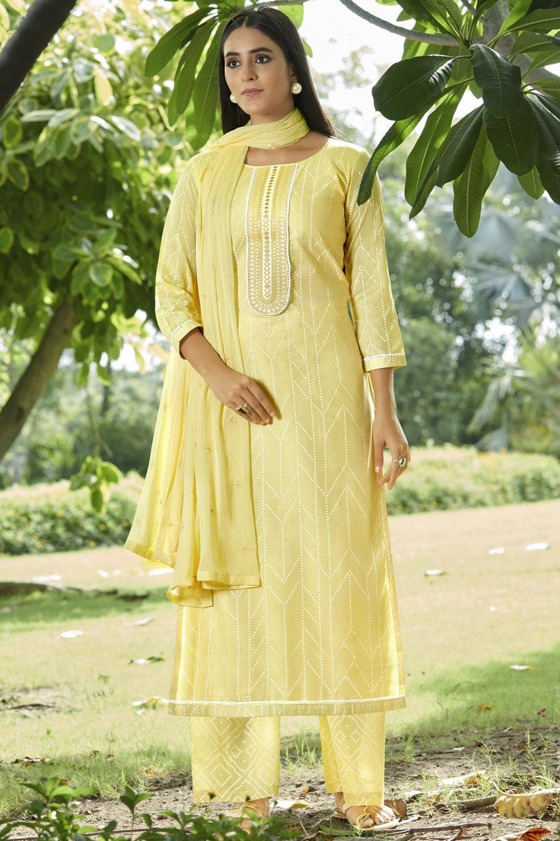 Cotton Fabric Festive Wear Fancy Printed Palazzo Salwar Suit In Yellow Color