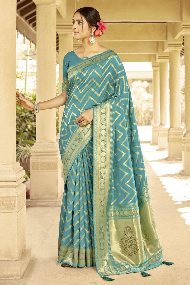 Weaving Work Cyan Color Wedding Wear Art Silk Fabric Saree