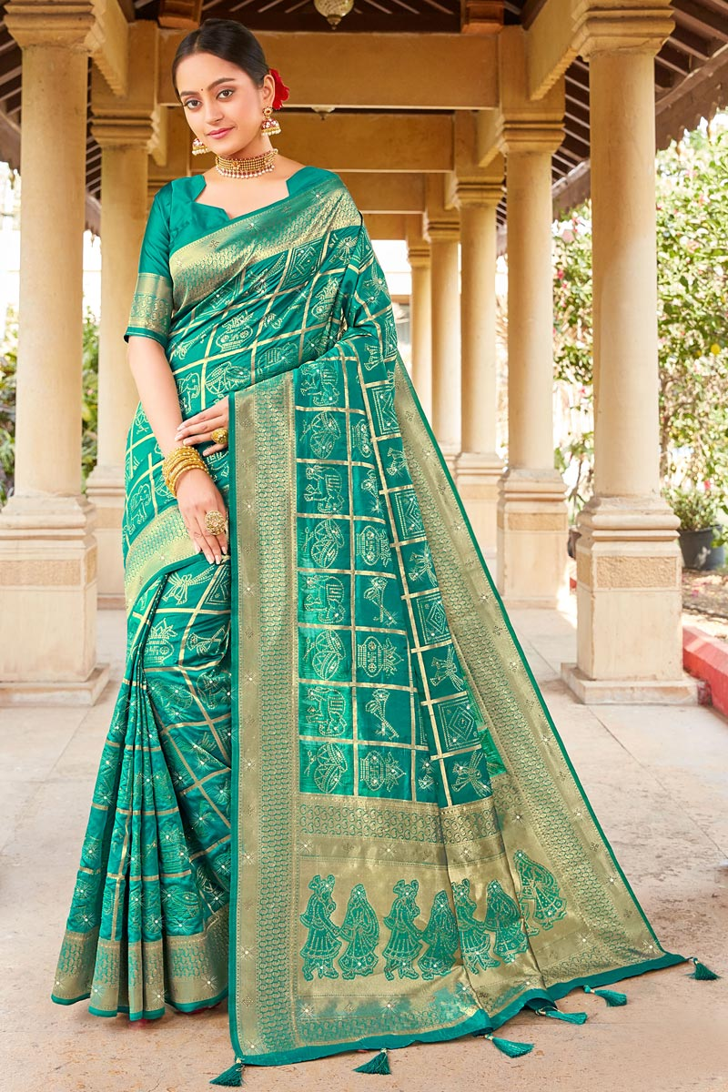 Party Wear Art Silk Fabric Weaving Work Saree In Cyan Color