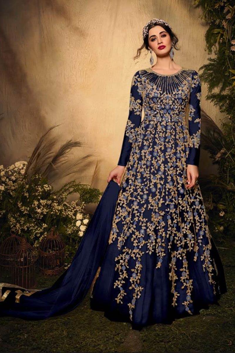 Navy Blue Color Festive Wear Fancy Embroidered Net Fabric Anarkali Salwar Suit
