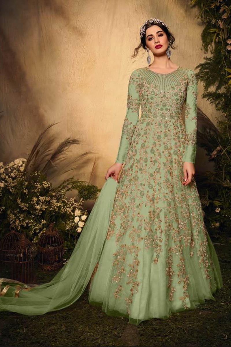 Sea Green Color Function Wear Stylish Embroidered Net Fabric Anarkali Dress