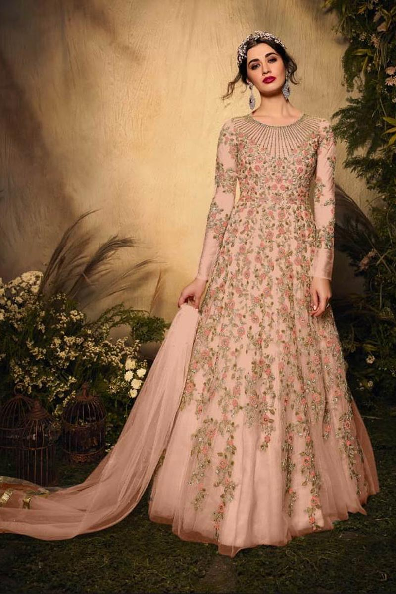 Net Fabric Party Wear Peach Color Designer Embroidered Anarkali Suit