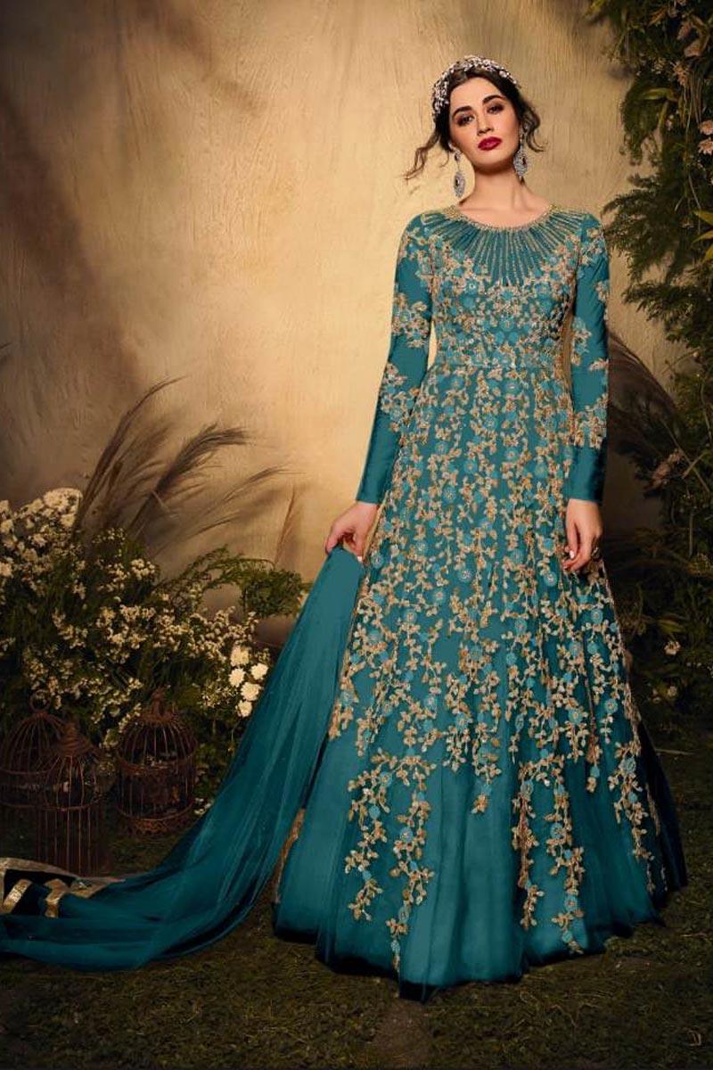 Teal Color Net Fabric Sangeet Wear Embroidered Anarkali Salwar Kameez