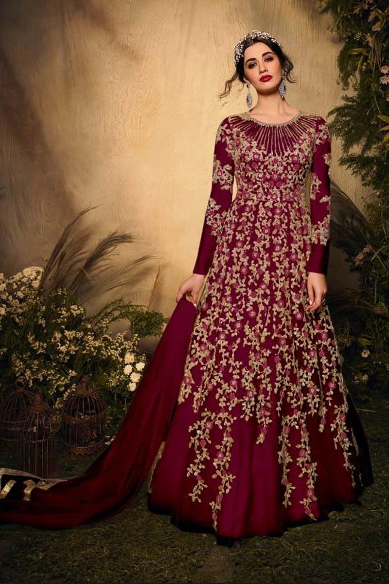 Net Fabric Wedding Wear Embroidered Anarkali Salwar Suit In Maroon Color