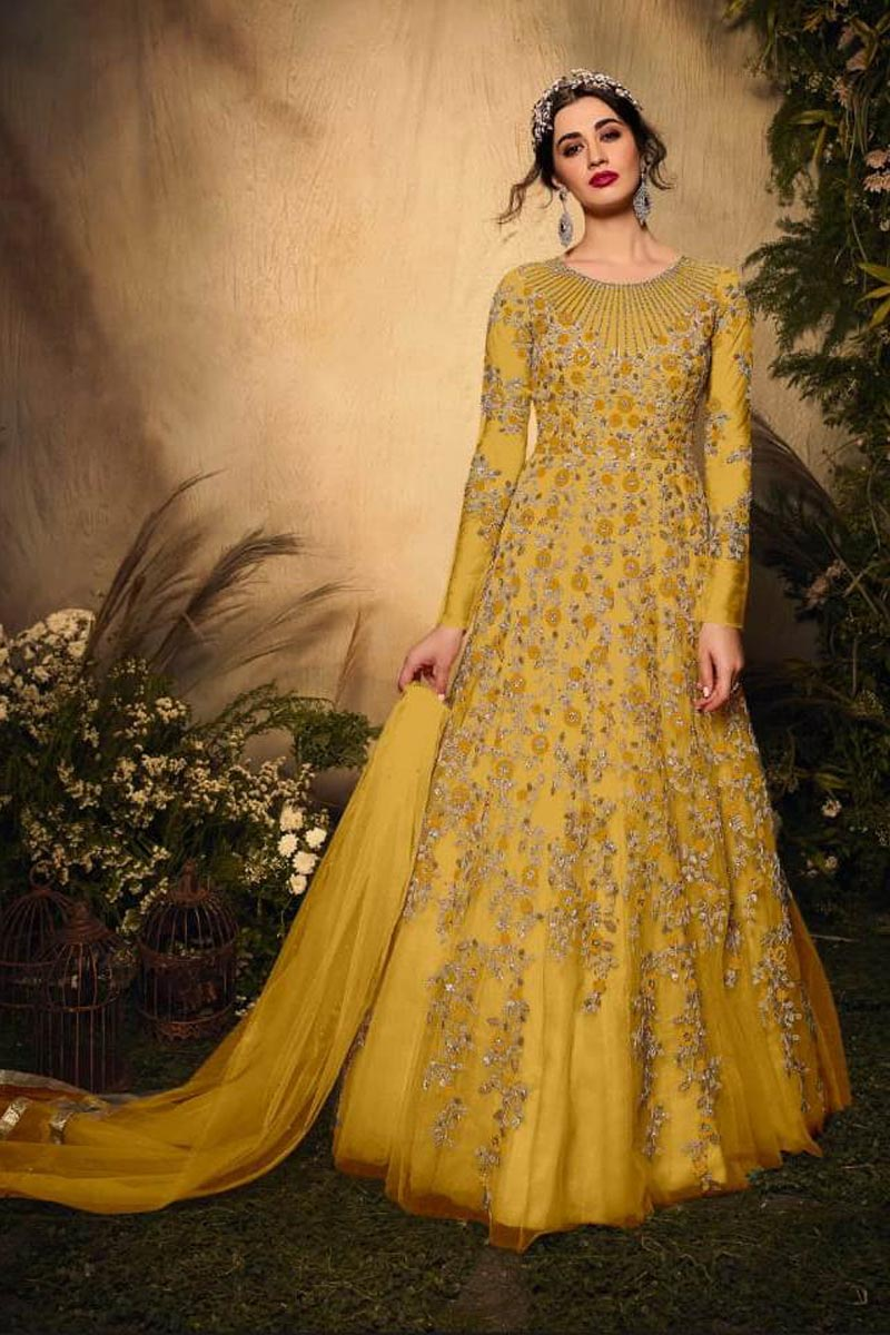Reception Wear Net Fabric Yellow Color Stylish Embroidered Anarkali Dress