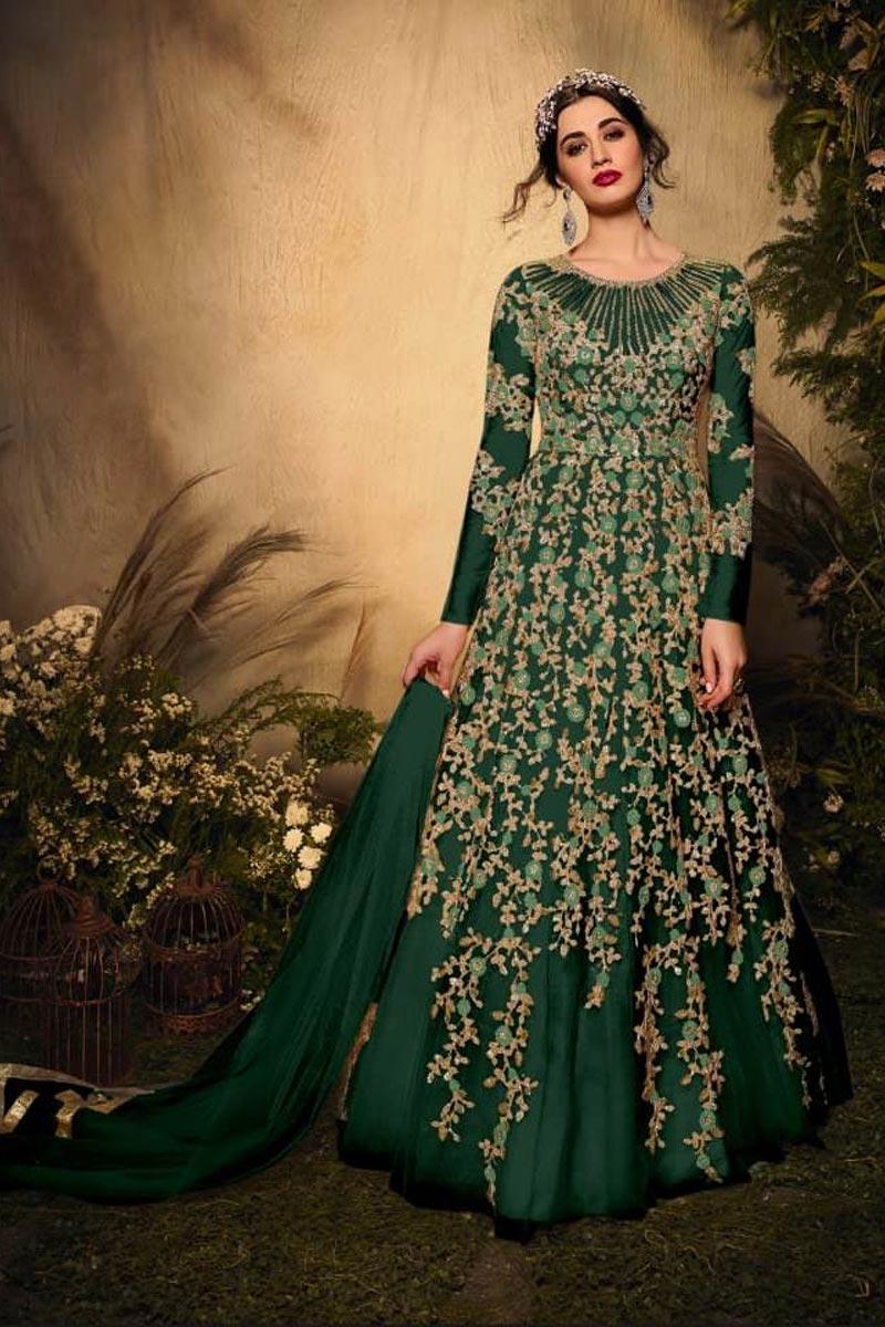 Net Fabric Festive Wear Designer Embroidered Dark Green Color Anarkali Suit
