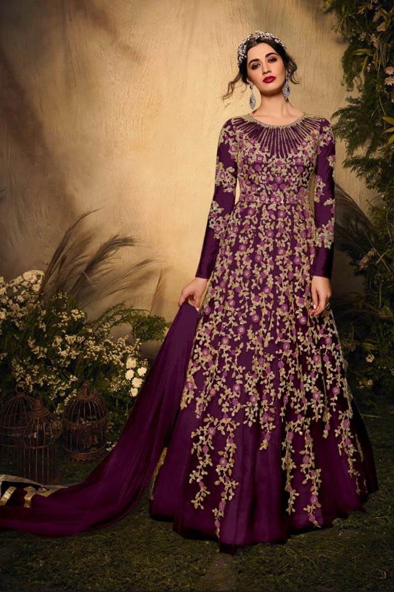 Net Fabric Function Wear Embroidered Purple Color Anarkali Salwar Kameez