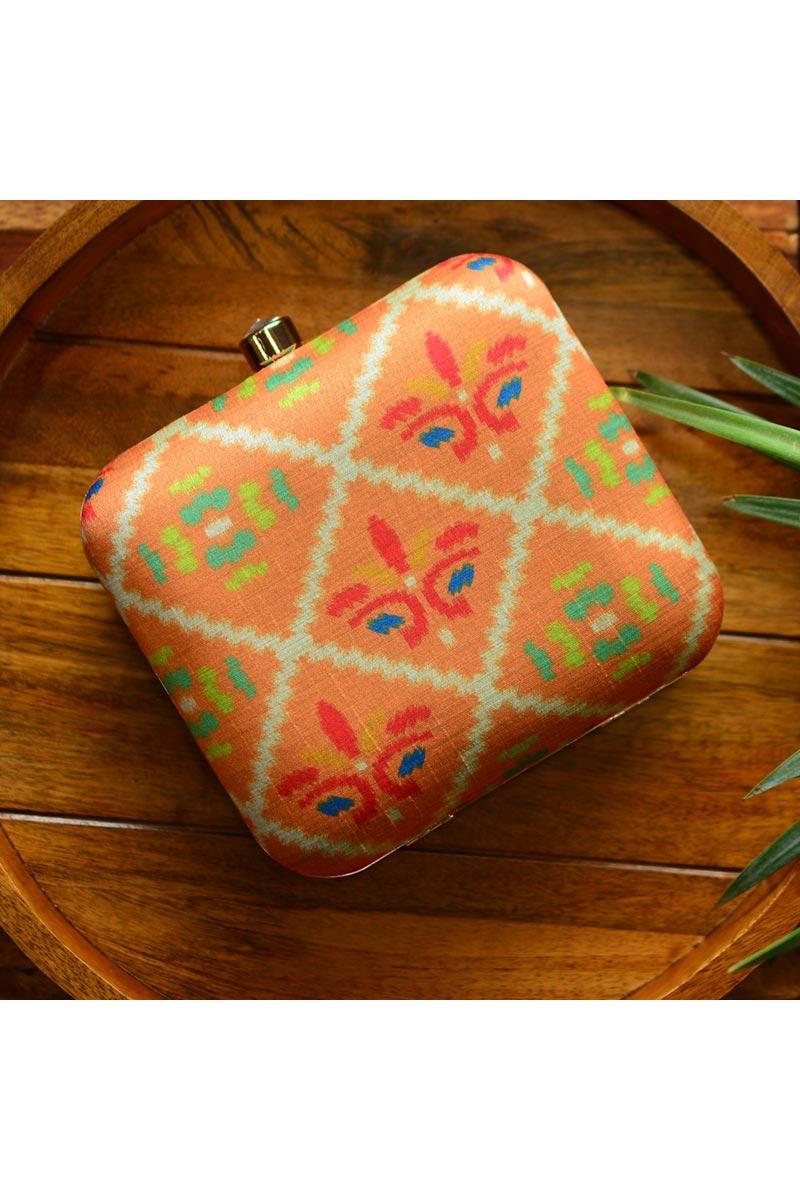 Designer Peach Color Box Clutch For Women