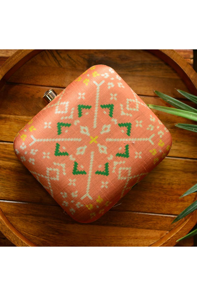 Peach Color Designer Box Clutch For Women