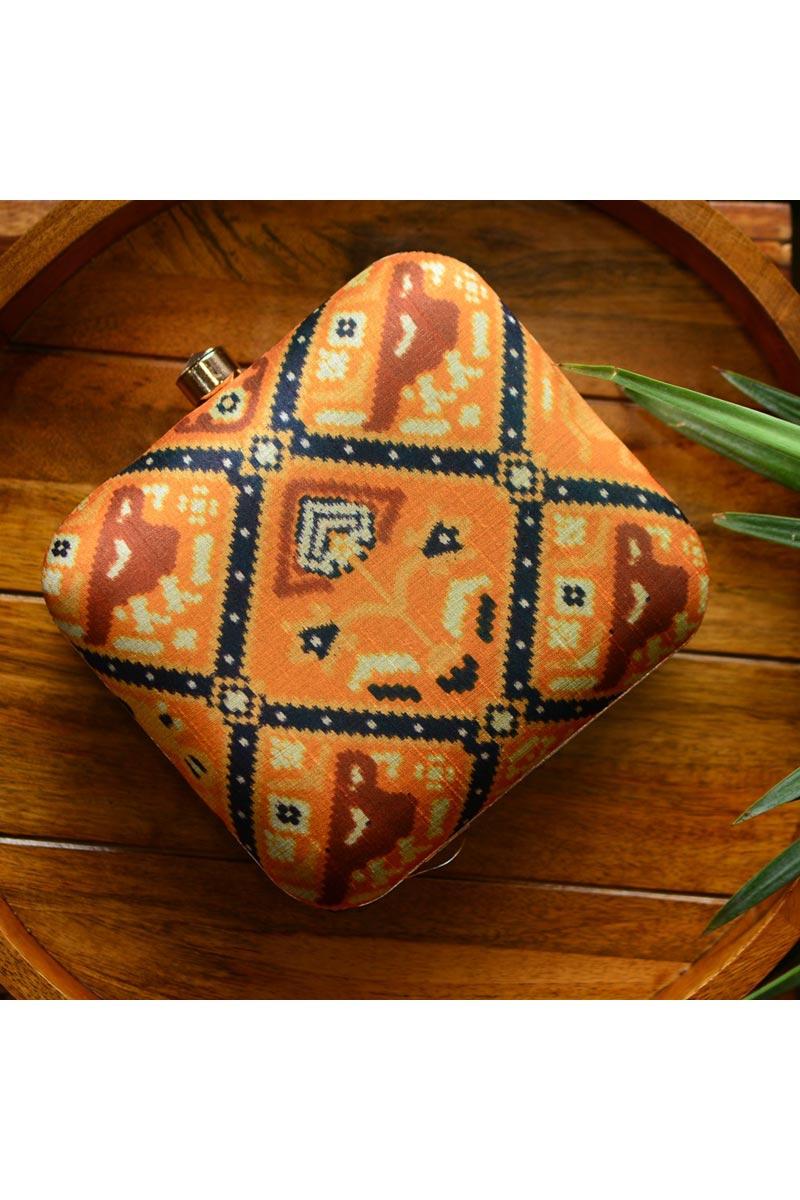 Designer Box Clutch For Women In Orange Color