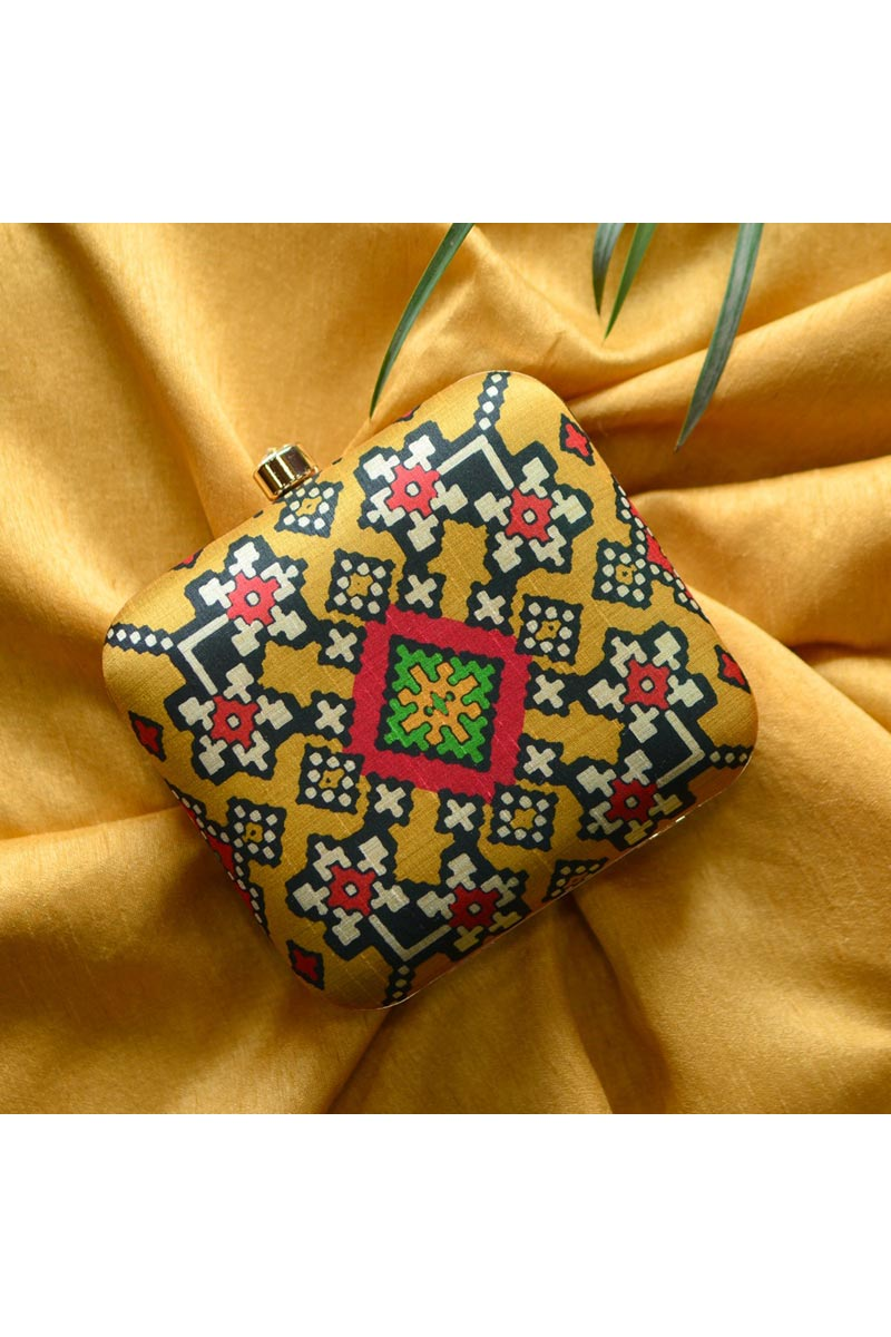 Designer Yellow Color Box Clutch For Women
