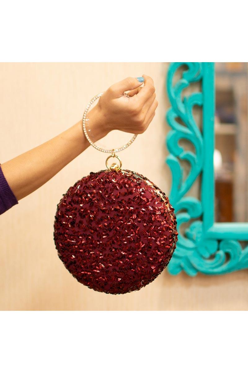 Maroon Color Designer Round Shape Clutch For Women