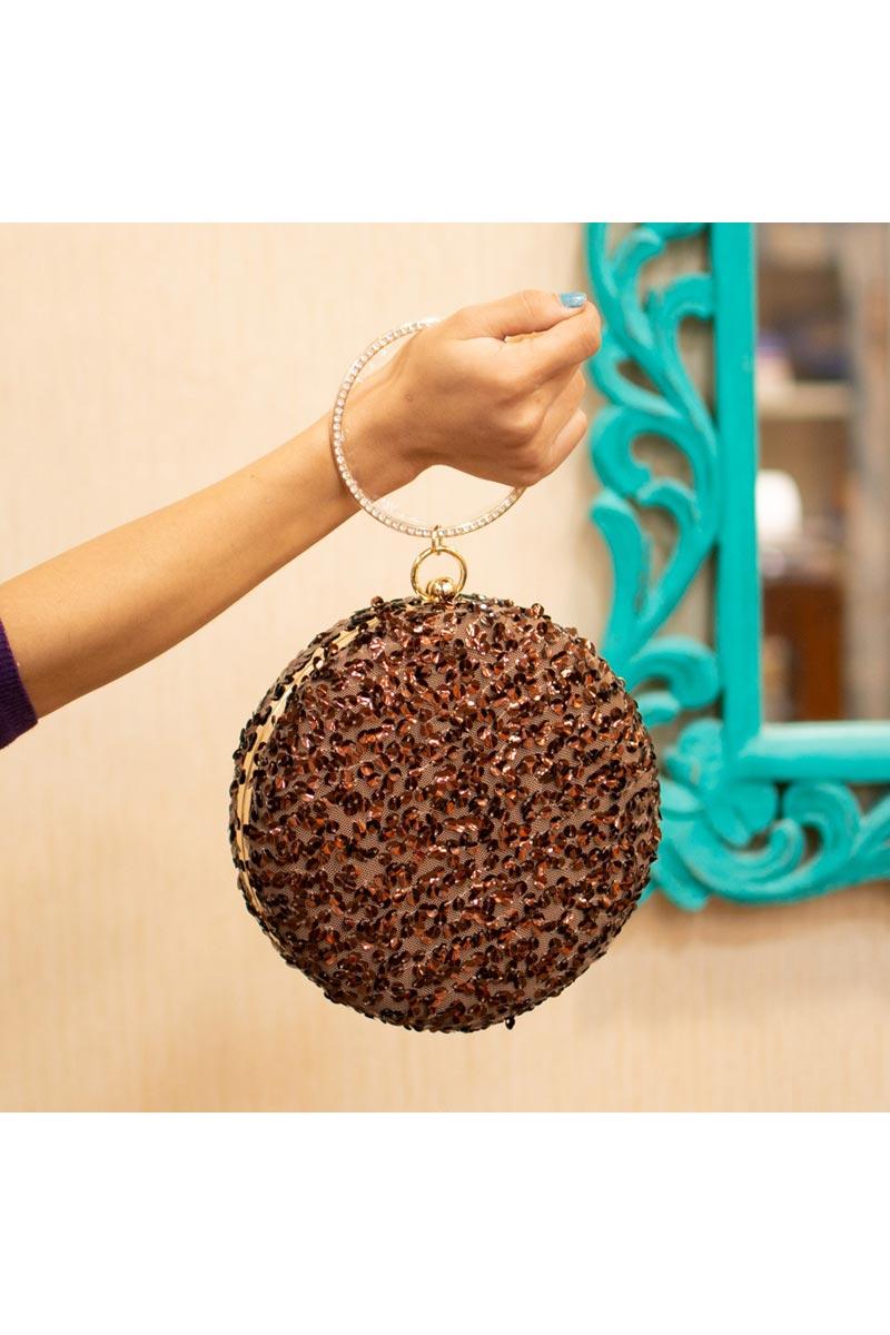 Designer Brown Color Round Shape Clutch For Women