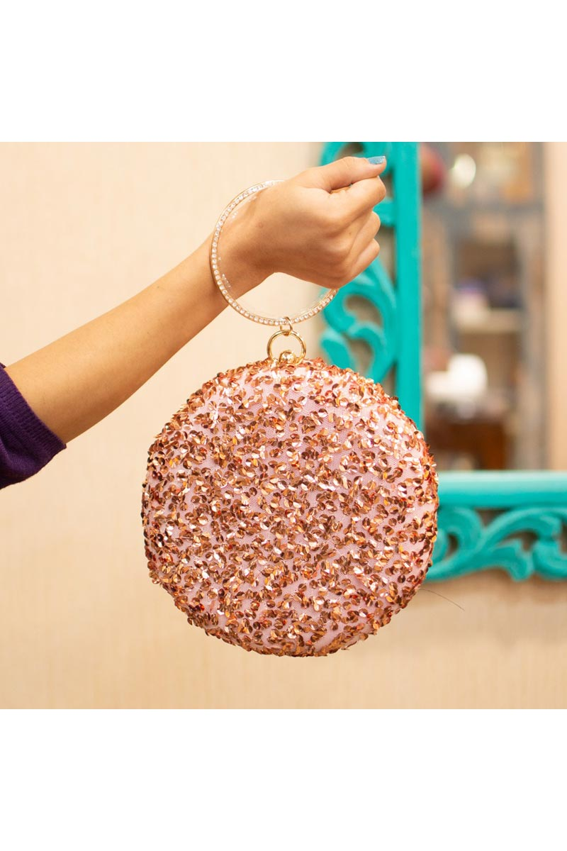 Womens Designer Round Shape Clutch In Pink Color