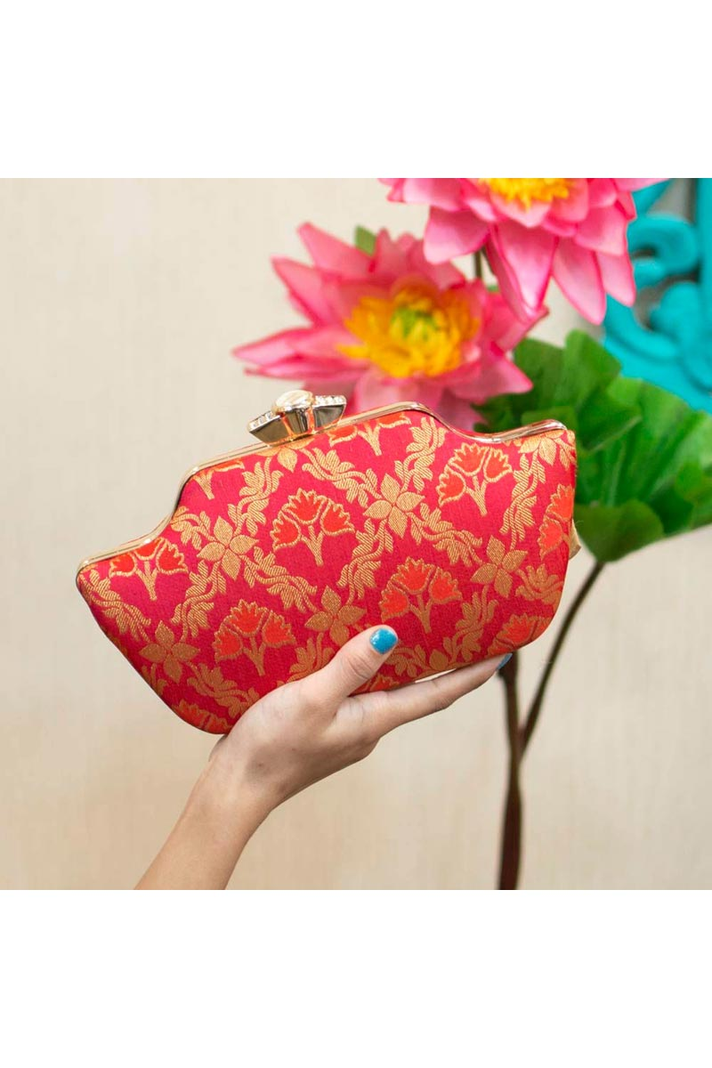 Red Color Party Style Trendy Clutch For Women