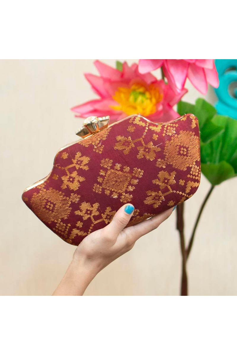 Party Style Maroon Color Trendy Clutch For Women