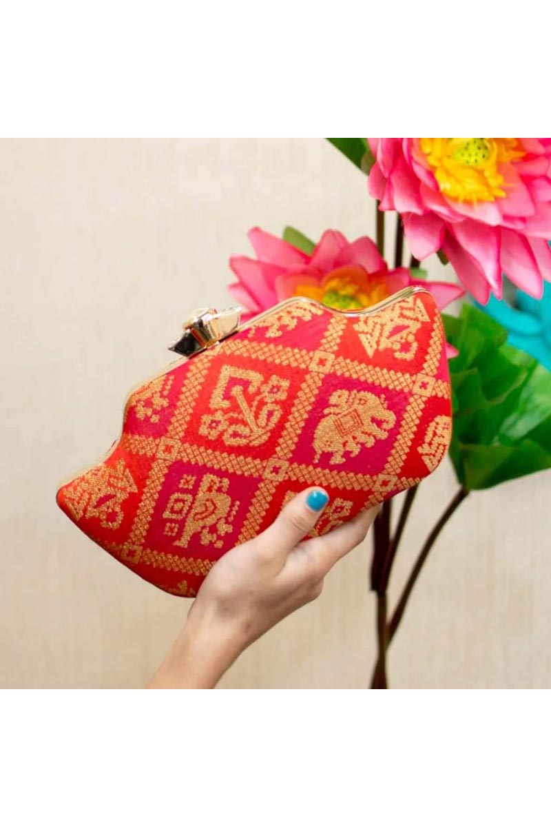 Party Style Trendy Clutch For Women In Red Color