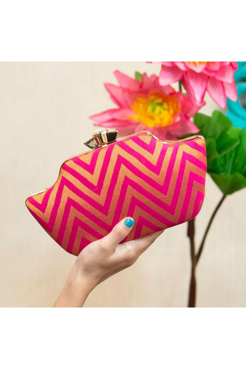 Party Style Rani Color Trendy Clutch For Women