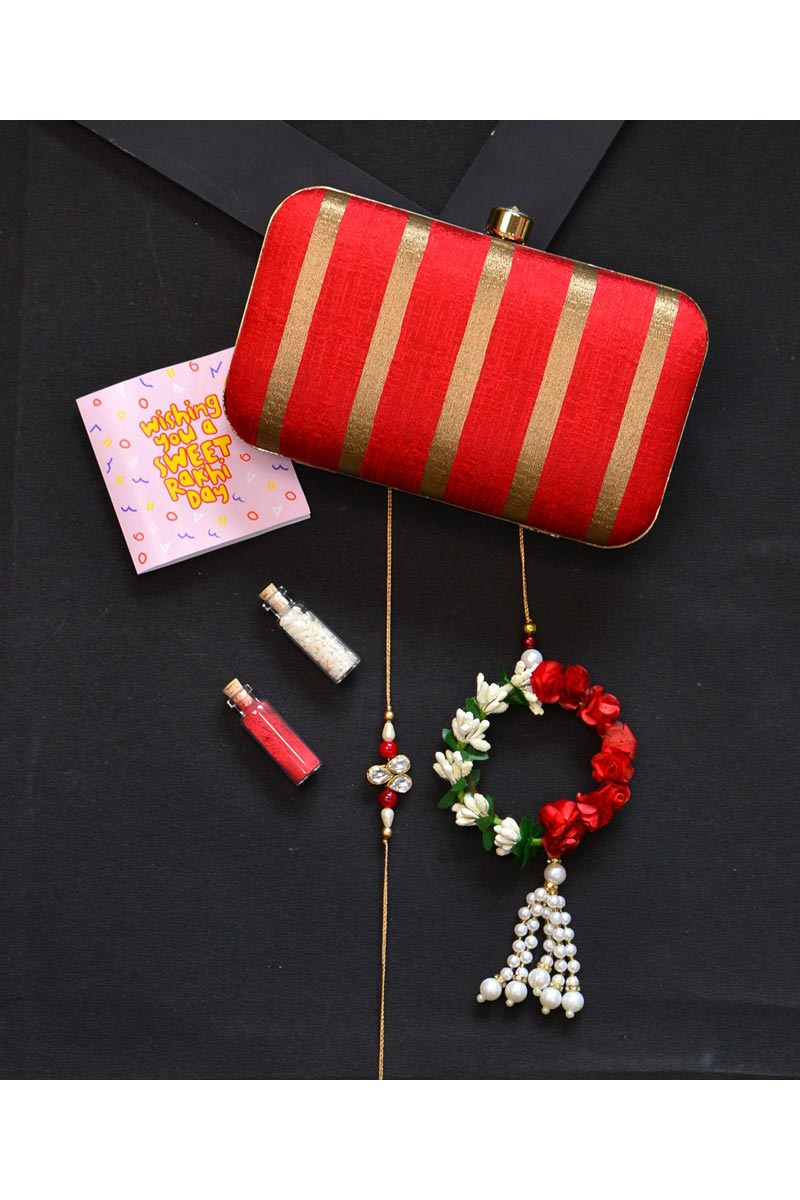 Red Party Style Designer Clutch Bag For Women