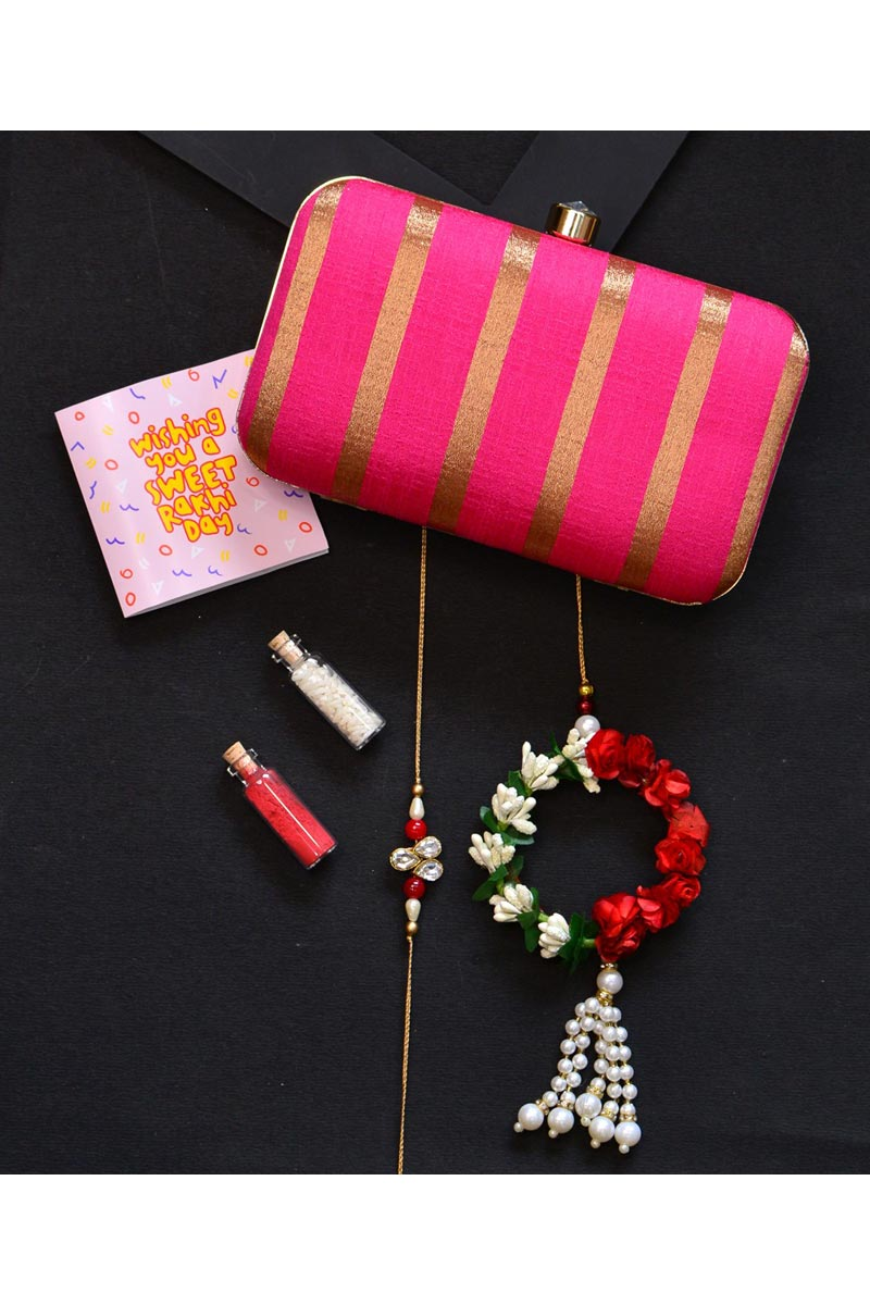 Party Style Designer Clutch Bag For Women In Rani Color
