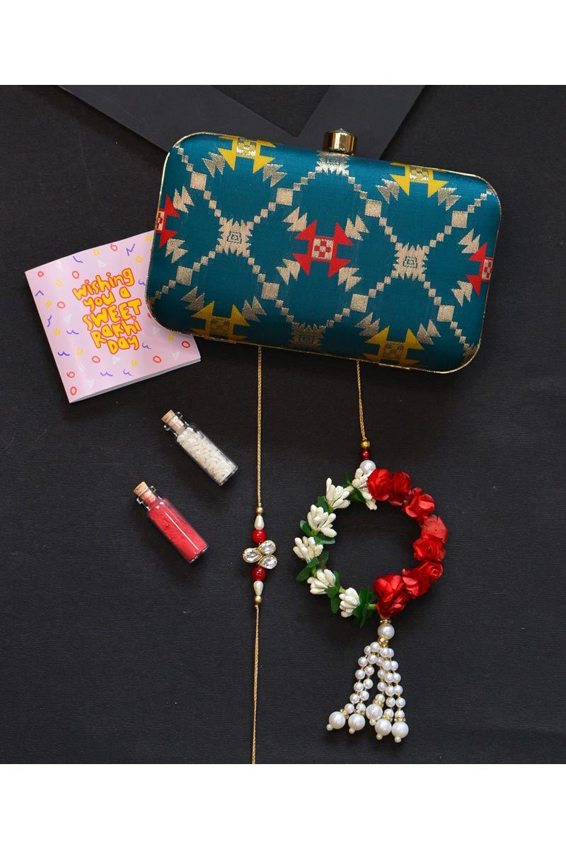 Designer Party Style Teal Color Clutch Bag For Women