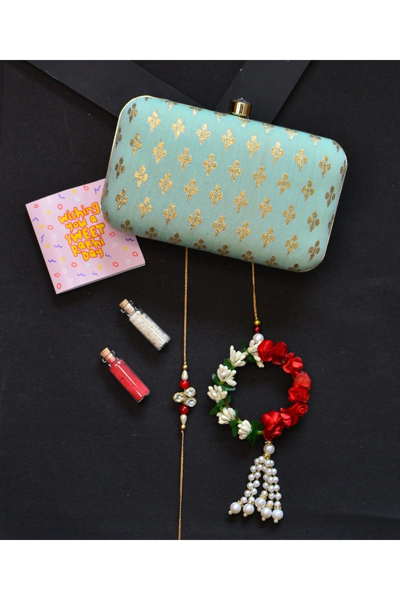 Designer Party Style Clutch Bag For Women In Sea Green Color