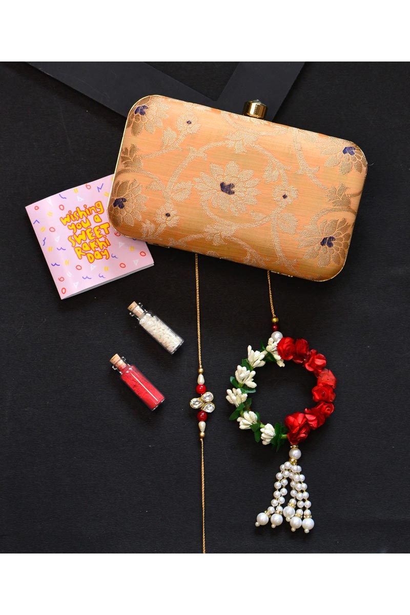 Designer Peach Color Party Style Clutch Bag For Women