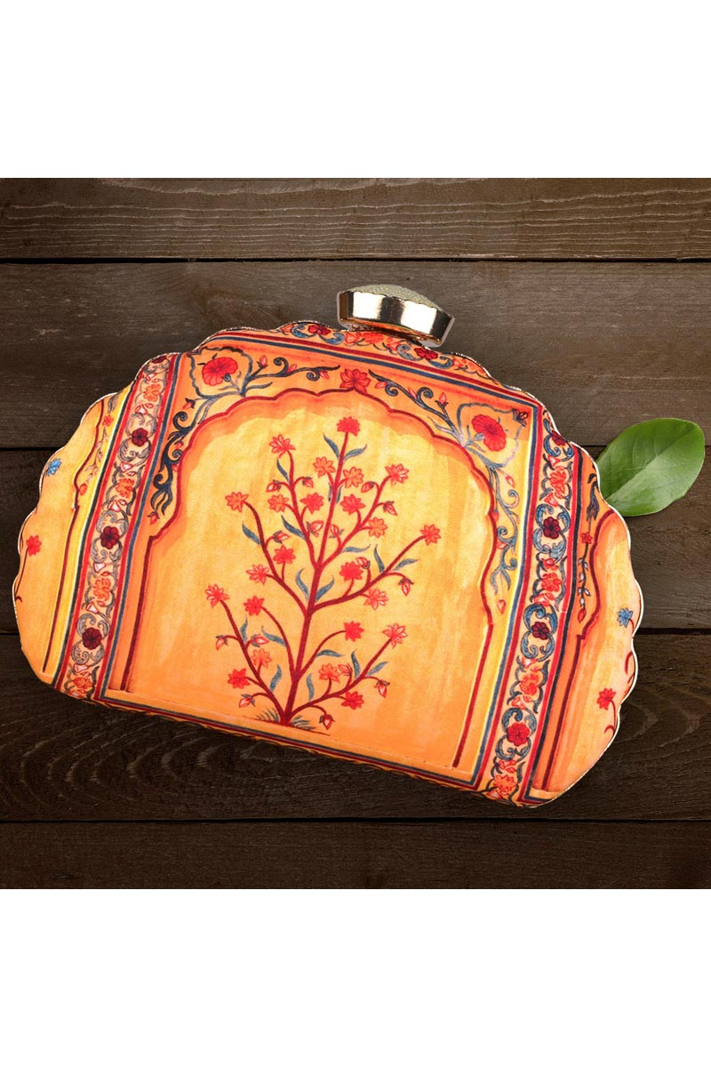 Trendy Party Style Orange Color Clutch Bag For Women
