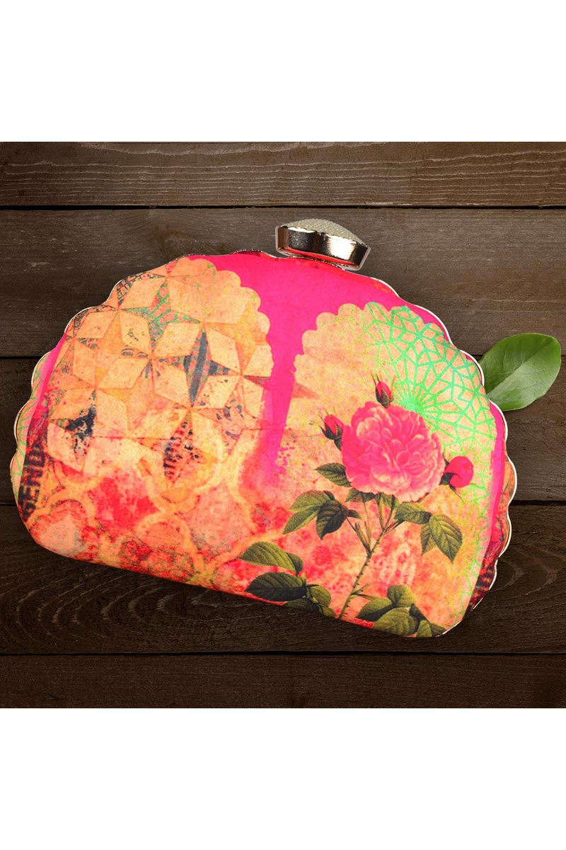 Trendy Party Style Clutch Bag For Women In Rani Color